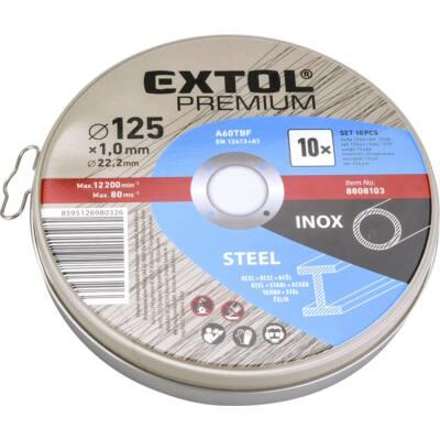 Extol Premium vágókorong 10 db, acélhoz/inoxhoz, kék; 125×1×22,2mm, max 12200 ford/perc, fémdobozban (8808103)