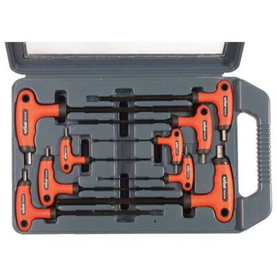 Extol Premium imbuszkulcs klt., 9db; gömbfejű (25o munkaszög), CV., gumírozott T-nyelű, 2, 2,5, 3, 4, 5, 6, 7, 8, 10mm, műanyag kofferben, 8819301