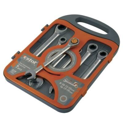 Extol  racsnis csillag-villás kulcs klt. 7db; 8-19mm CV. 72 foggal, 1 irányú forgás, 8816100