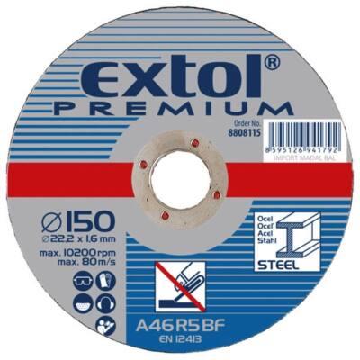 Extol Premium csiszolókorong acélhoz, kék; 125×6,0×22,2mm, max 12200 ford/perc, 8808702