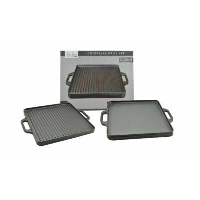 Perfect Home 12970 Öntöttvas grill lap 2 oldalas, 33 x 33 cm