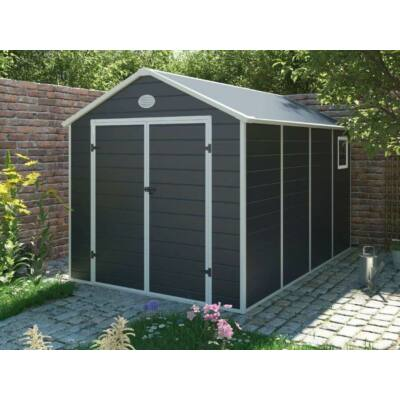 G21 PAH-882 kerti ház, kerti tároló, 241 x 366 cm, műanyag, szürke