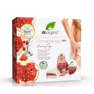 Dr. Organic Luxury Spa Gránátalmás Ajándékcsomag Öregedésgátló arckrém 50ml + Tusfürdő 250ml + Testvaj 200ml